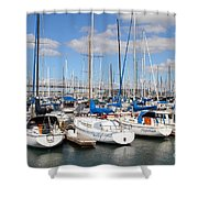 Sail Boats At San Francisco China Basin Pier 42 With The Bay Bridge In The Background . 7d7688 Shower Curtain by Wingsdomain Art and Photography