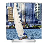 Sailboat In Toronto Harbor Shower Curtain by Elena Elisseeva
