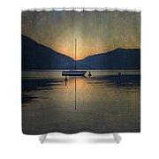 Sailing Boat At Night Shower Curtain by Joana Kruse