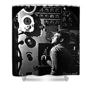 Sailor At Work In The Electric Engine Shower Curtain by Stocktrek Images