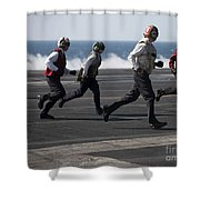 Sailors Clear The Landing Area Shower Curtain by Stocktrek Images