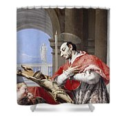 Saint Charles Borromeo Shower Curtain by Giovanni Battista Tiepolo