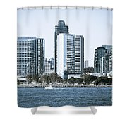 San Diego Downtown Waterfront Buildings Shower Curtain by Paul Velgos