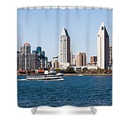 San Diego Skyline And Tour Boat Shower Curtain by Paul Velgos