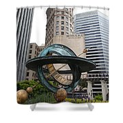 San Francisco - Hobart Building On Market Street Viewed From Top Of Crocker Galleria - 5d17872 Shower Curtain by Wingsdomain Art and Photography