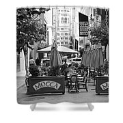 San Francisco - Maiden Lane - Outdoor Lunch at Mocca Cafe - 5D17932 - black and white Shower Curtain by Wingsdomain Art and Photography