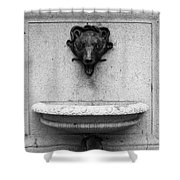 San Francisco - Monument On Market Street - 5d17847 - Black And White Shower Curtain by Wingsdomain Art and Photography