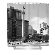 San Francisco - Union Square - 5D17933 - black and white Shower Curtain by Wingsdomain Art and Photography
