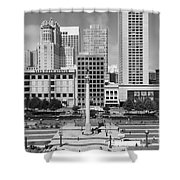 San Francisco - Union Square - 5D17938 - black and white Shower Curtain by Wingsdomain Art and Photography