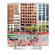 San Francisco Market Street - 5d17877 - Square - Painterly Shower Curtain by Wingsdomain Art and Photography