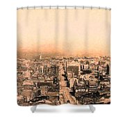 San Francisco Skyline 1909 . Ferry Building and Alcatraz Shower Curtain by Wingsdomain Art and Photography