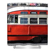 San Francisco Vintage Streetcar On Market Street - 5d18001 Shower Curtain by Wingsdomain Art and Photography