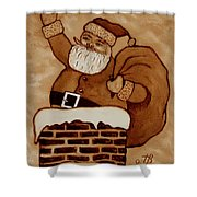 Santa Claus Is Coming Shower Curtain by Georgeta  Blanaru