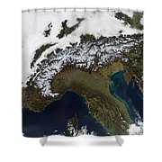Satellite View Of The Alps Shower Curtain by Stocktrek Images