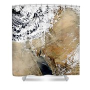 Satellite View Of The Eastern Shower Curtain by Stocktrek Images