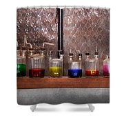 Science - Chemist - Glassware For Couples Shower Curtain by Mike Savad