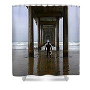 Scripps Pier Surfer 3 Shower Curtain by Bob Christopher