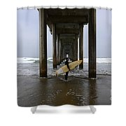 Scripps Pier Surfer Shower Curtain by Bob Christopher