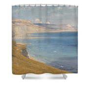 Sea And Sunshine   Lyme Regis Shower Curtain by Sir Frank Dicksee
