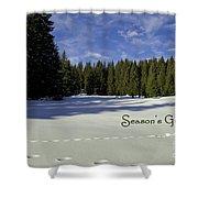 Season's Greetings Austria Europe Shower Curtain by Sabine Jacobs