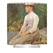 Seated Lady Shower Curtain by Edwin Harris
