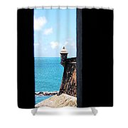 Sentry Tower View Castillo San Felipe Del Morro San Juan Puerto Rico Ink Outlines Shower Curtain by Shawn O'Brien