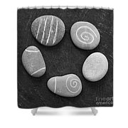 Serenity Stones Shower Curtain by Linda Woods