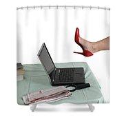 Sexy Woman Kicks A Laptop  Shower Curtain by Ilan Rosen