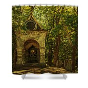 Shaded Chapel. Golden Green Series Shower Curtain by Jenny Rainbow