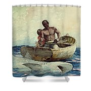 Shark Fishing Shower Curtain by Winslow Homer