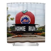 Shea Stadium Home Run Apple Shower Curtain by Rob Hans