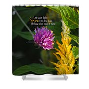 Shine Encouraging Pink And Yellow Flower Photograph Shower Curtain by Jai Johnson