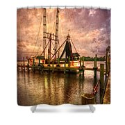 Shrimp Boat At Sunset II Shower Curtain by Debra and Dave Vanderlaan