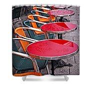 Sidewalk Cafe In Paris Shower Curtain by Elena Elisseeva