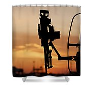 Silhouette Of A M240g Medium Machine Shower Curtain by Terry Moore