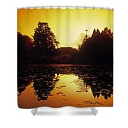 Silhouetted Home And Trees Near Water Shower Curtain by The Irish Image Collection