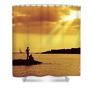 Silhouettes on the Beach Shower Curtain by Carlos Caetano