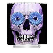 Skull Art - Day Of The Dead 3 Shower Curtain by Sharon Cummings