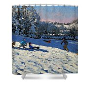 Sledging Near Youlgreave Shower Curtain by Andrew Macara