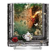 Sleeping Beauty Shower Curtain by Mo T