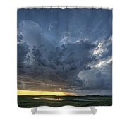 Slough Pond And Crop Shower Curtain by Mark Duffy