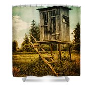 Small Cabin With Legs Shower Curtain by Jutta Maria Pusl