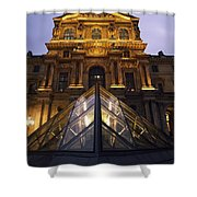 Small Glass Pyramid Outside The Louvre Shower Curtain by Axiom Photographic