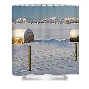 Snow Covered Hay Bales In A Snow Shower Curtain by Michael Interisano