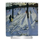 Snow Rykneld Park Derby Shower Curtain by Andrew Macara