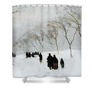 Snow Storm Shower Curtain by Anton Mauve
