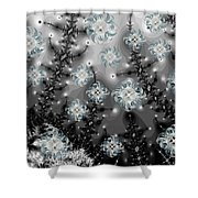 Snowy Night I Fractal Shower Curtain by Betsy C  Knapp
