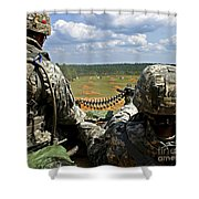 Soldier Feeds Ammunition To His Gunner Shower Curtain by Stocktrek Images