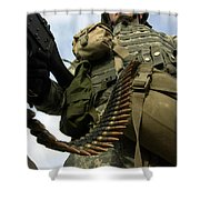 Soldier Mans A Vehicle Mounted 7.62 Mm Shower Curtain by Stocktrek Images
