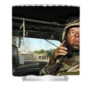 Soldier Monitors The Progress Of A 67 Shower Curtain by Stocktrek Images